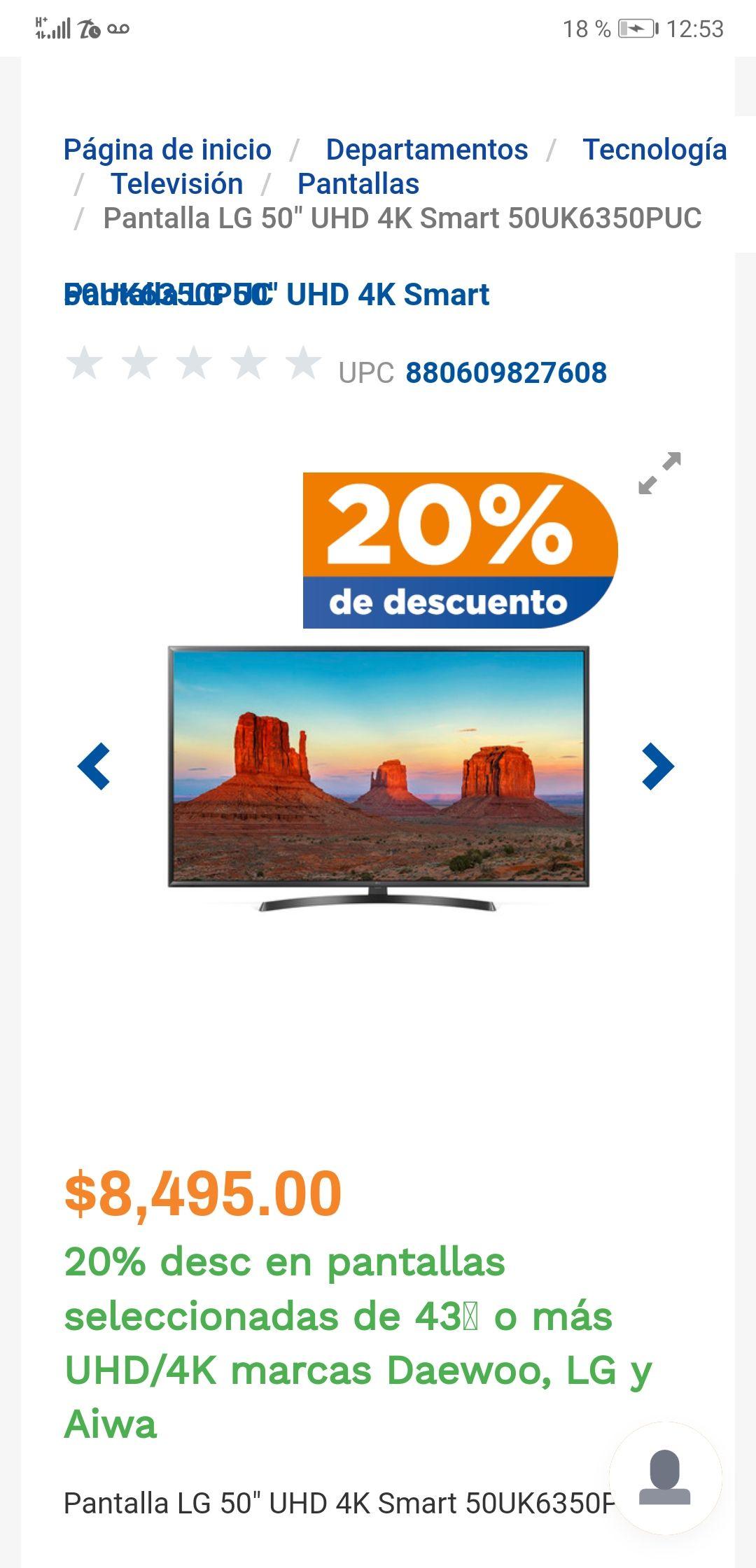 "Chedraui: Smart TV LG 50"" 4K UHD  (pagando con Bancomer Wallet)"