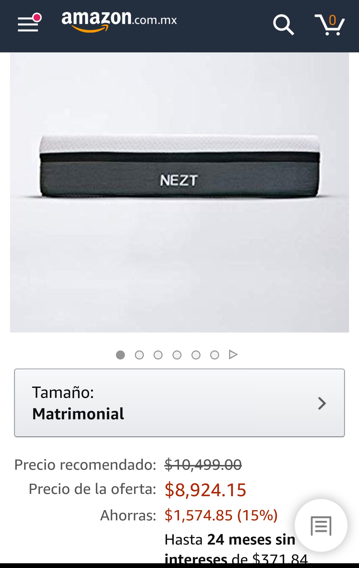 Amazon: Colchón matrimonial NEZT (Pagando con Citibanamex)