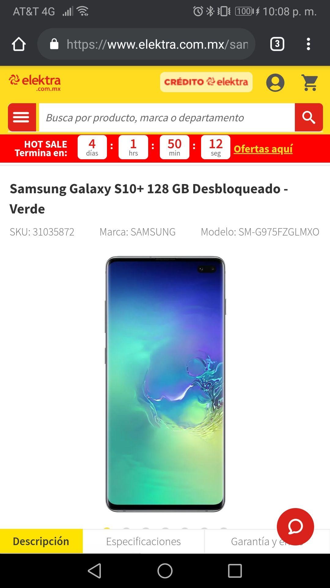 Elektra: Samsung Galaxy S10+ 128GB pagando con Wallet Bancomer