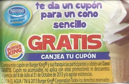 Cupón para cono gratis en Burger King en agüitas Nestlé
