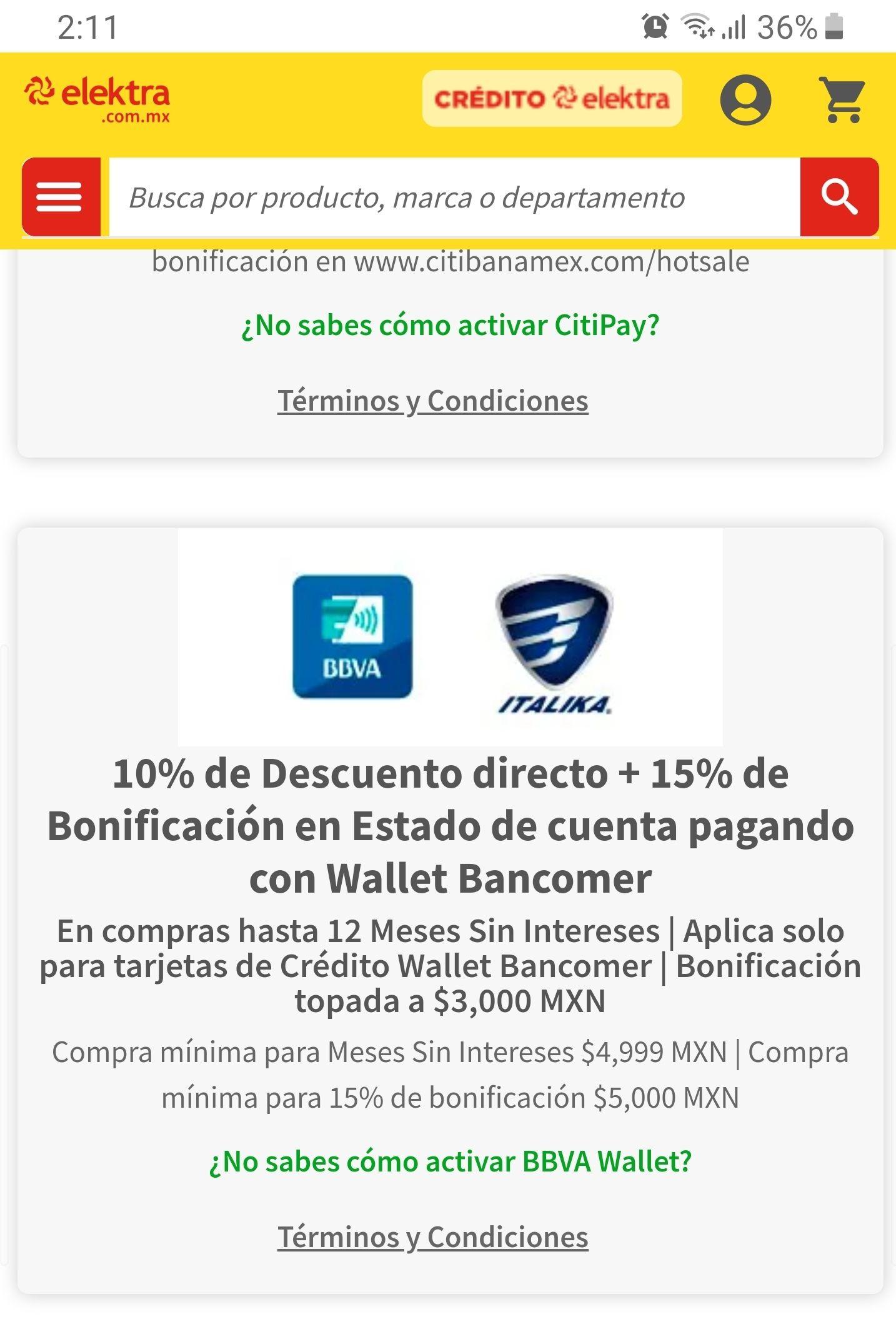 Elektra: Motocicletas Italika con 10% de descuento más el 15% en bonificación pagando con TDC BBVA Wallet