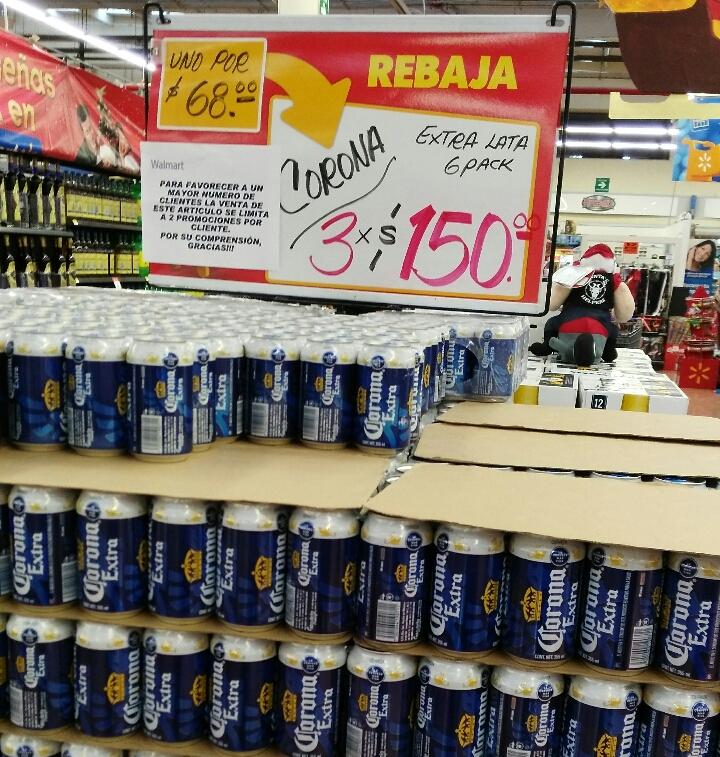 Walmart: 3 six de corona de lata