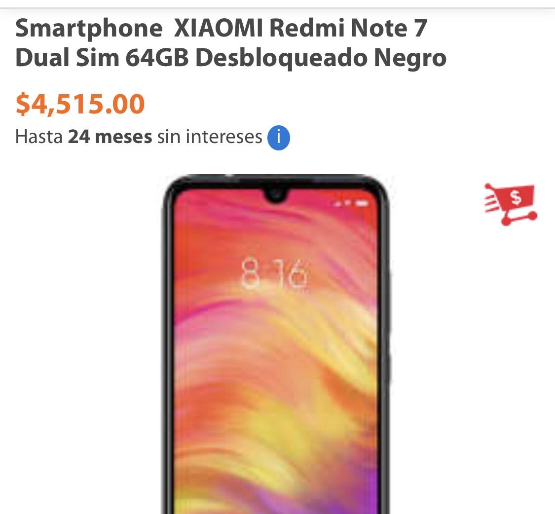 Walmart: Smartphone  XIAOMI Redmi Note 7 Dual Sim 64GB Desbloqueado Negro