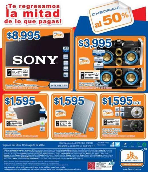 """Chedraui: LED Smart TV Sony de 42"""" $8,995 y $4,497 de bonificación"""