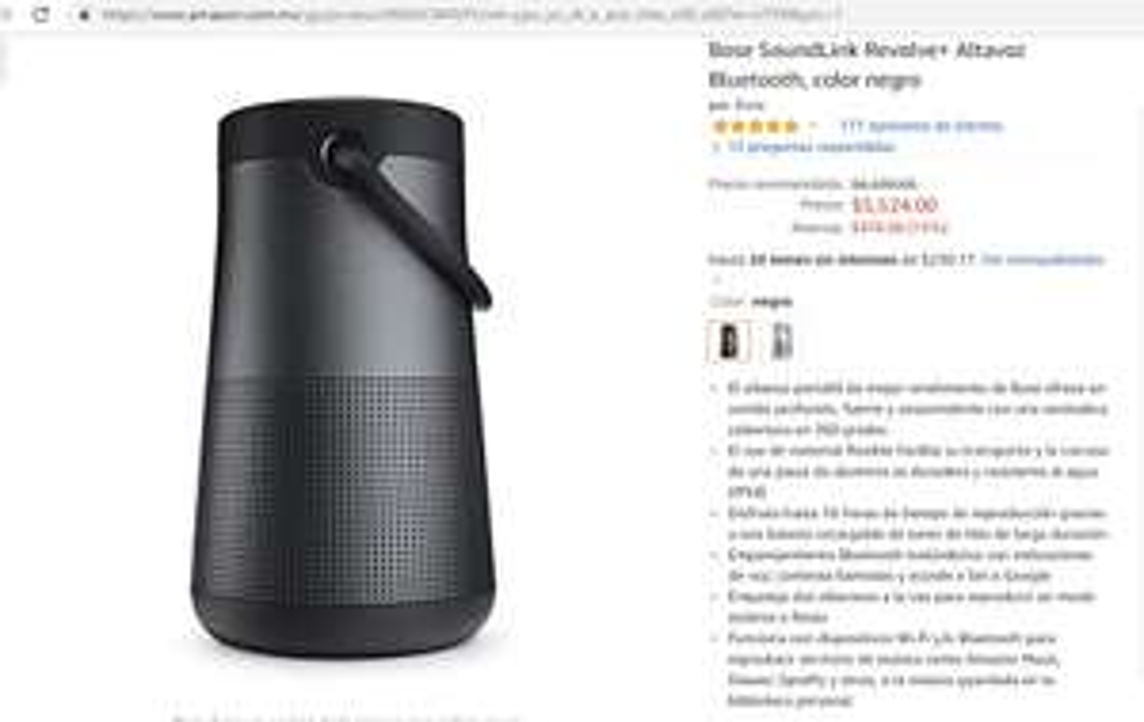Amazon: Bocina Soundlink Revolve + (pagando con Citibanamex)