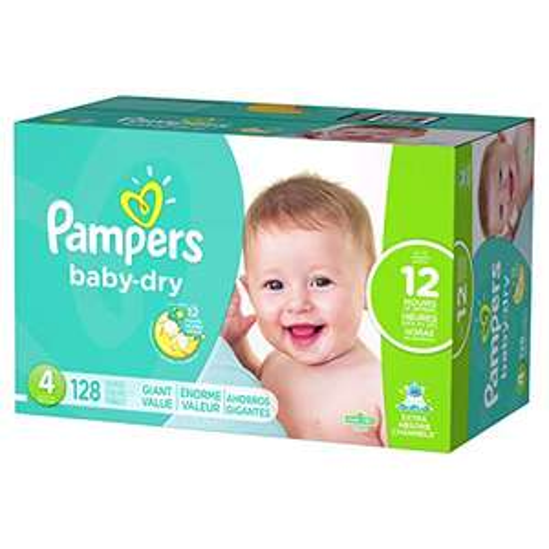 Amazon: Pampers Pañales Desechables Baby Dry, Talla 4, 128 Piezas