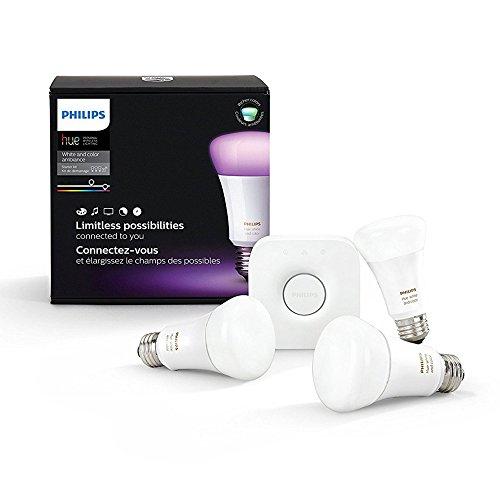 Amazon: Philips HUE LED Starter Pack, 3 Lámparas Color 10W A19 E26 + Bridge