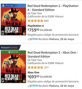 Amazon: Red Dead Redemption 2 PS4 y XBOX ONE