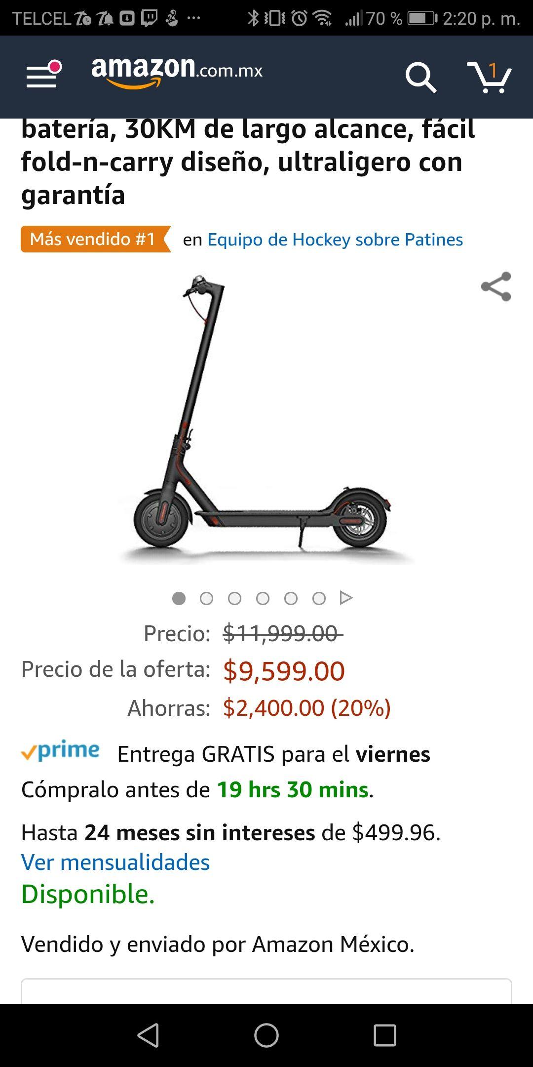 Amazon: xiaomi mi scotter vendido por Amazon pagando con BBVA Wallet (oferta flash)