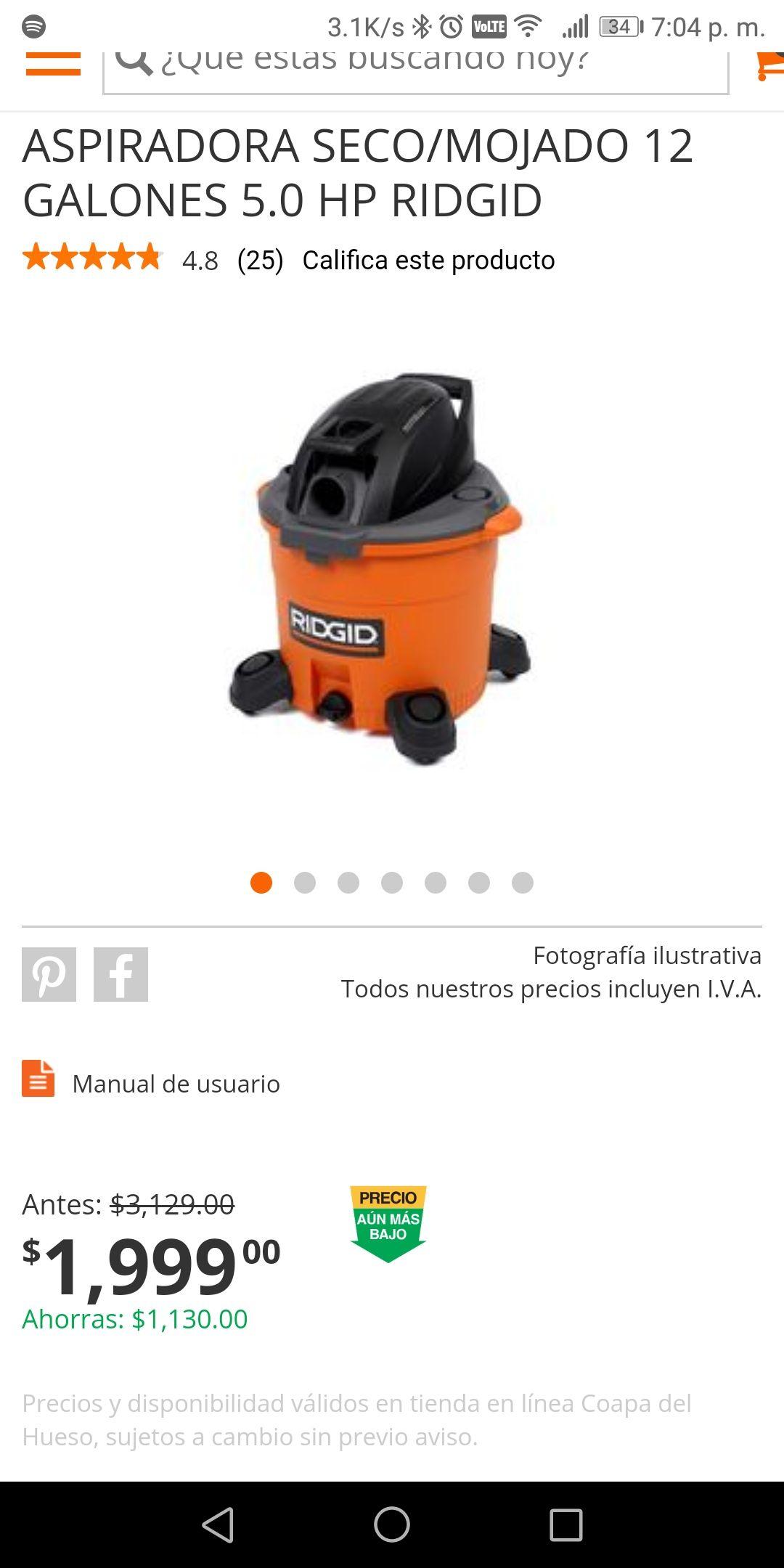 Home Depot: Aspiradora Mojado/Seco RIDGID 12Galones antes $3129