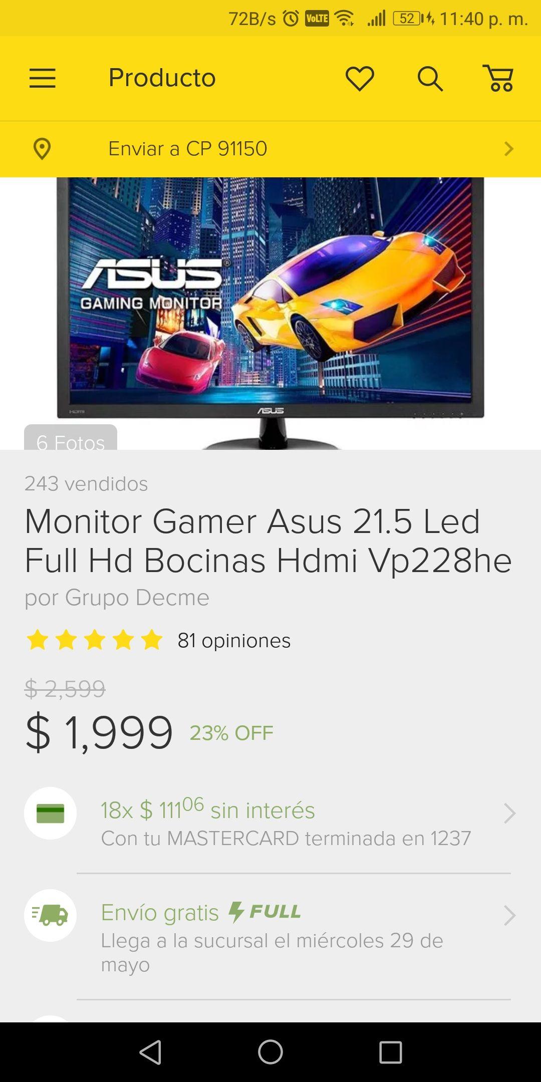 Tienda ASUS en Mercadolibre: Monitor Gamer Asus 21.5 Led Full HD VP228HE