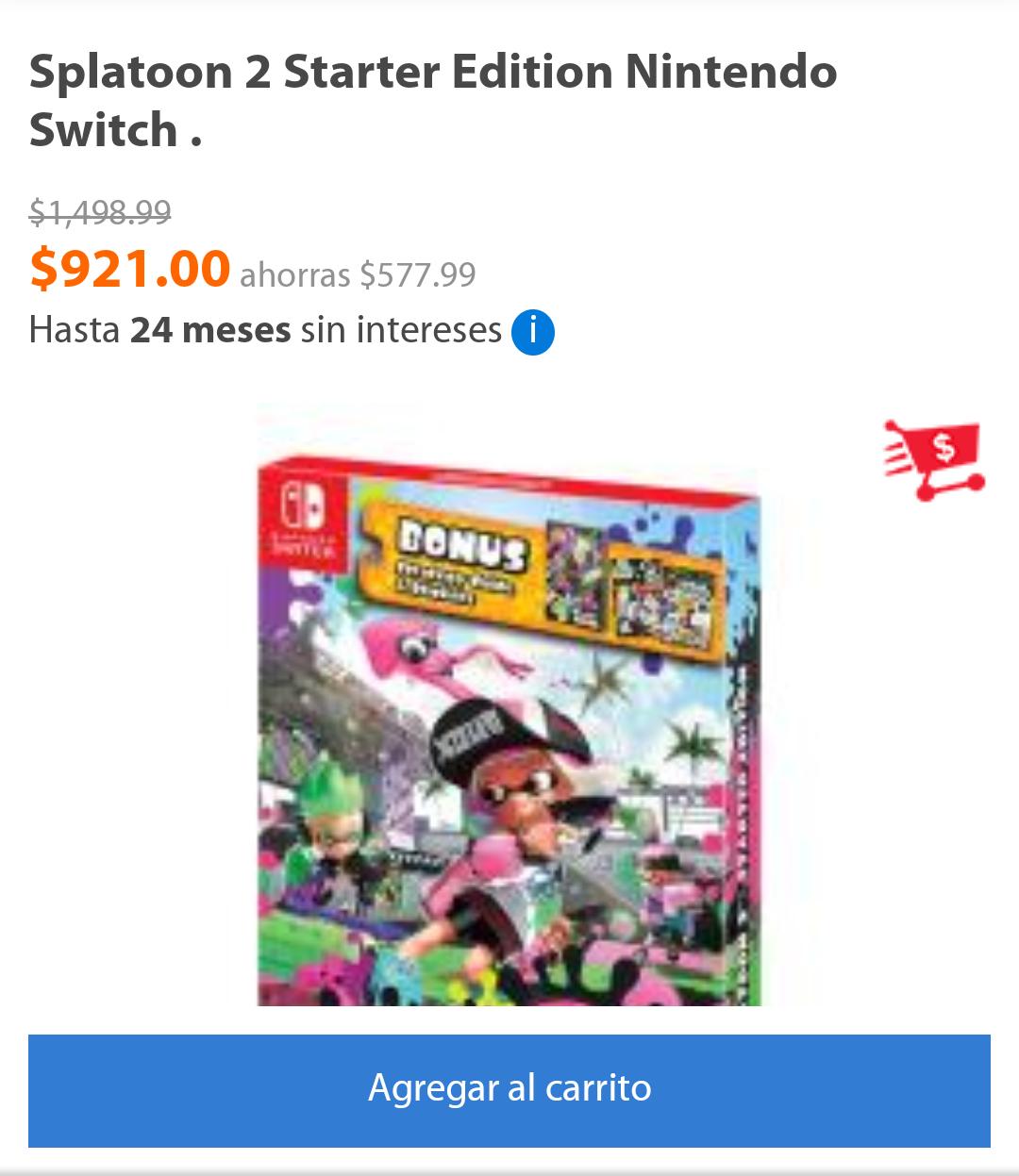 d20153fa1 Walmart en línea  Splatoon 2 Starter Edition para Nintendo Switch