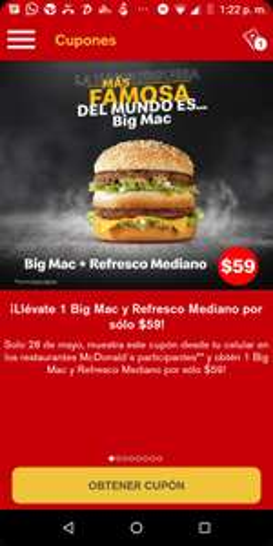 McDonald's: Día de la hamburguesa. BIG MAC + Refresco Mediano solo hoy  28  Mayo.
