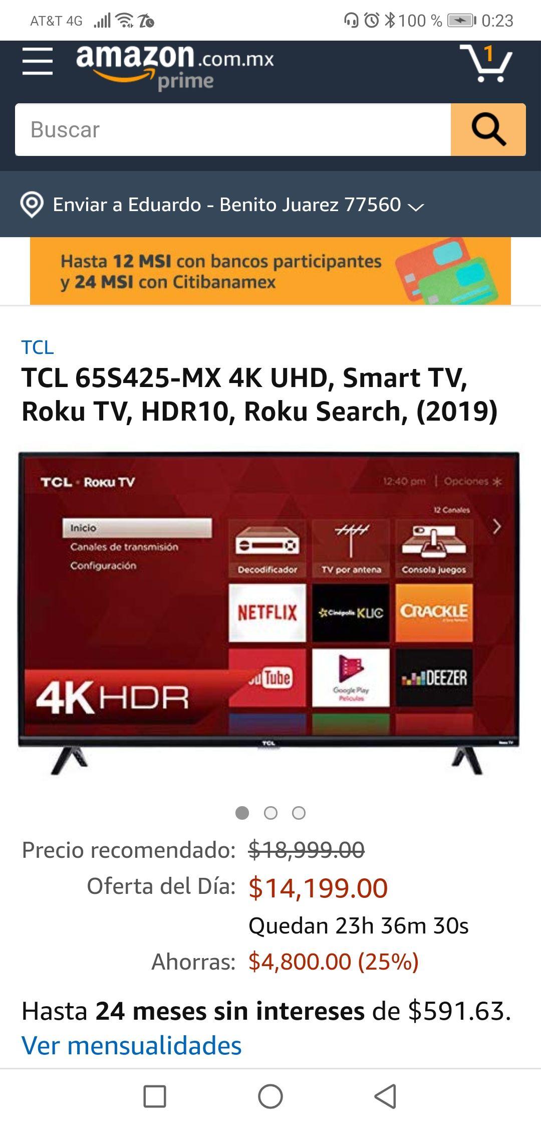 Amazon: Smart TV TCL 65S425-MX 4K UHD (Pagando con Citibanamex y cupón)