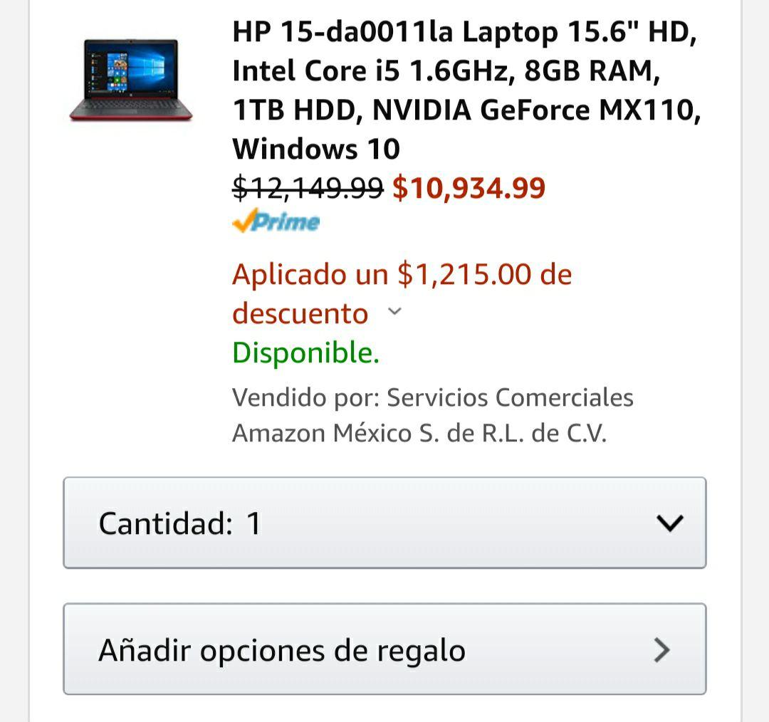 """Amazon: HP 15-da0011la Laptop 15.6"""" HD, Intel Core i5 1.6GHz, 8GB RAM, 1TB HDD, NVIDIA GeForce MX110, Windows 10. (Pagando con Citibanamex)"""