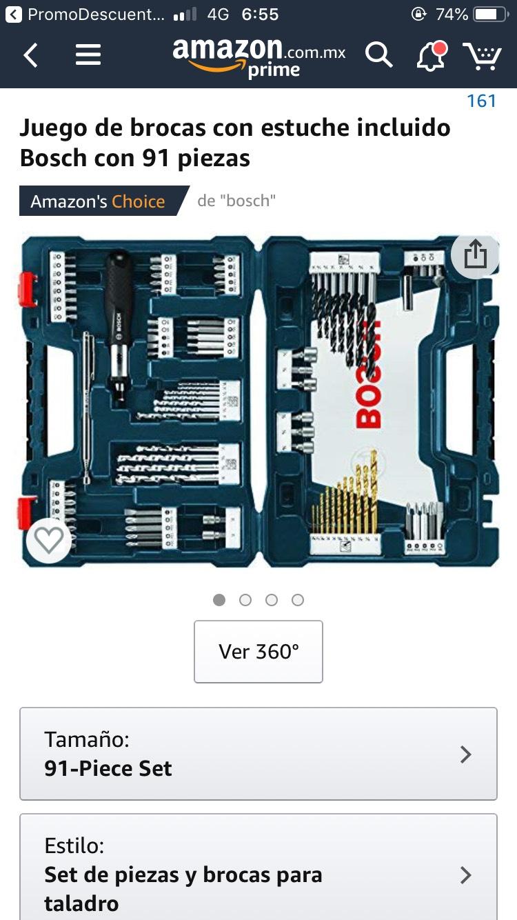 Amazon: Kit de brocas y accesorios BOSCH 91 piezas