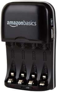 Amazon: Cargador para batería AA & AAA con puerto USB - Amazon Basics