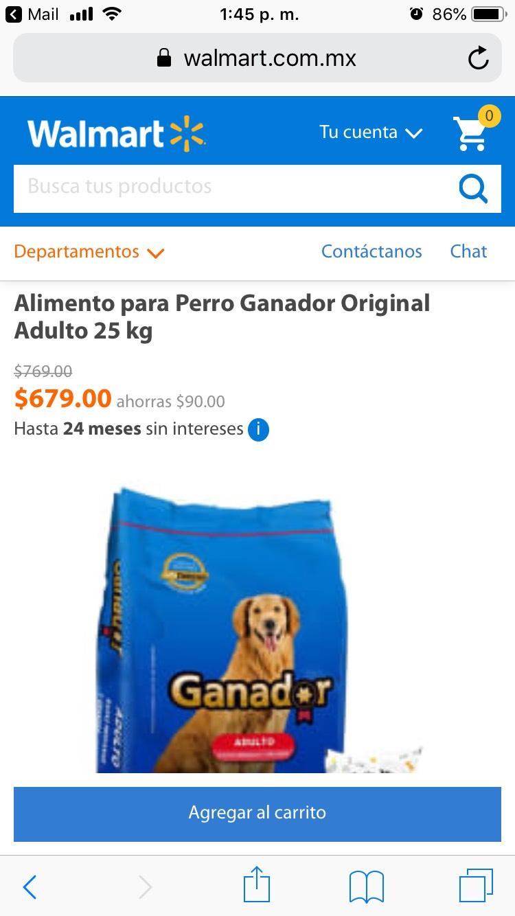 Walmart: GANADOR 25kg