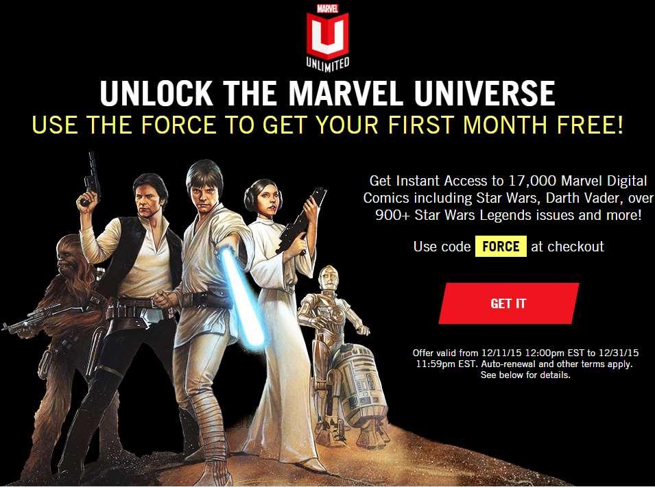 1 mes gratis de Marvel Unlimited (comics digitales)