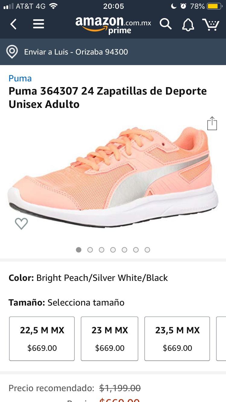 Amazon: Tenis puma unisex desde 22.5 hasta 27 todos al mismo precio