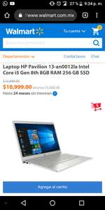 Walmart: Laptop HP Pavilion 13-an0012la Intel Core i5 Gen 8th 8GB RAM 256 GB SSD pagando BBVA