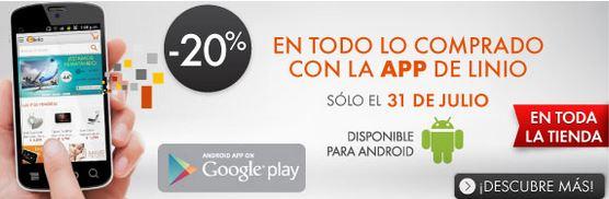 Linio: 20% de descuento en toda la tienda usando app de Android