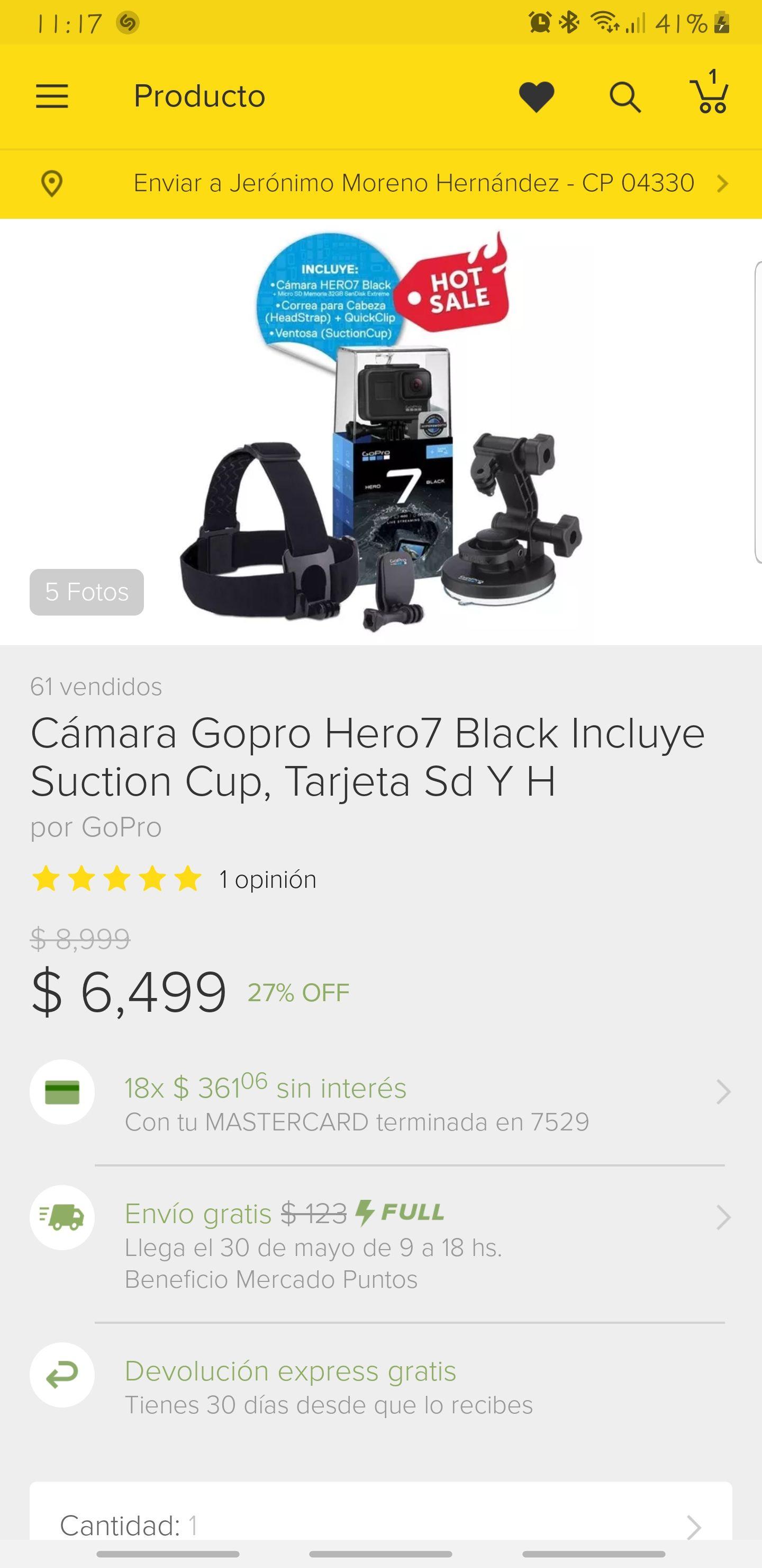 Tienda oficial Gopro en Mercado Libre: Gopro 7 black