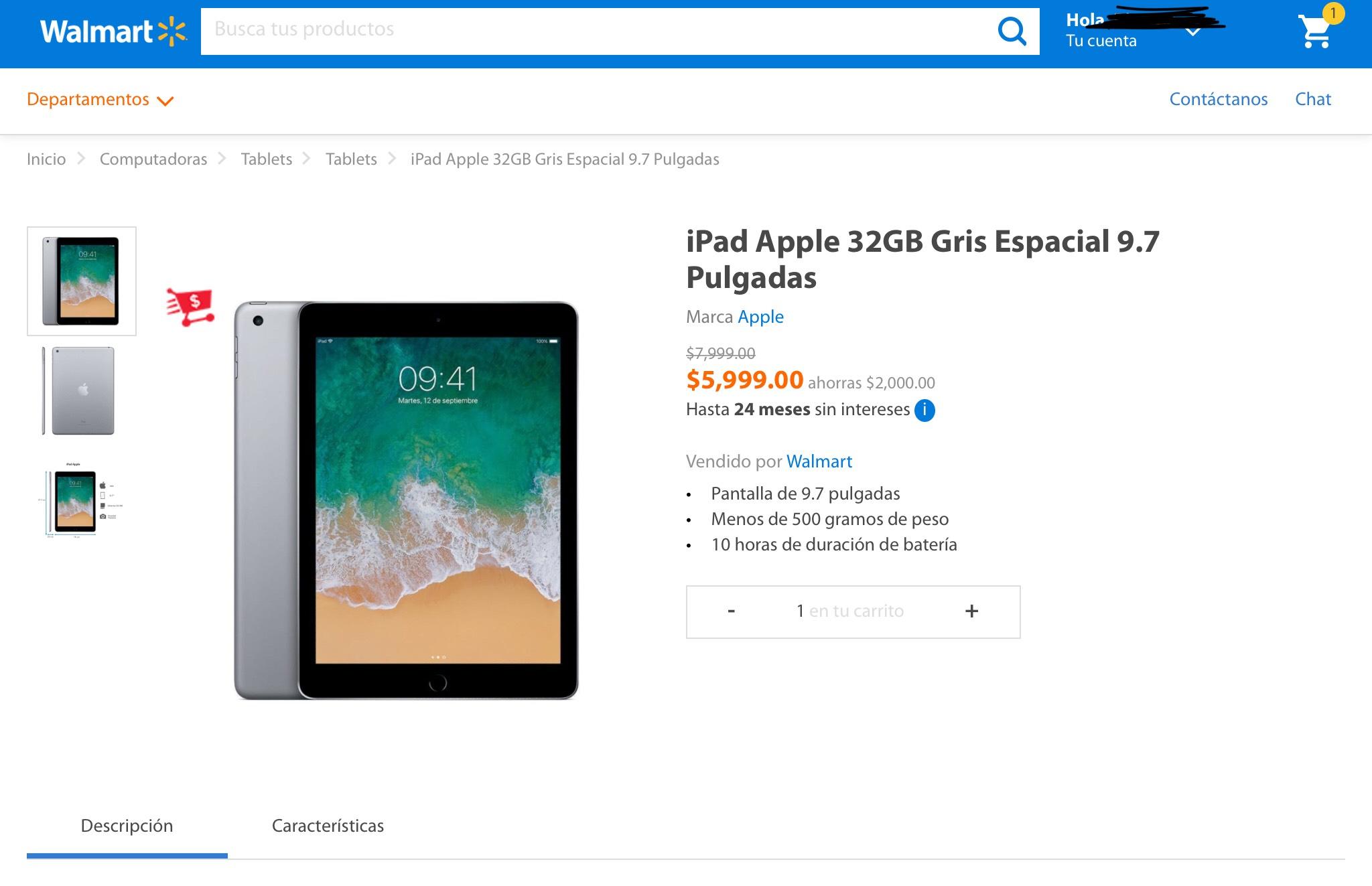 Walmart: iPad 2018 (Pagando con BBVA Bancomer a 18MSI)
