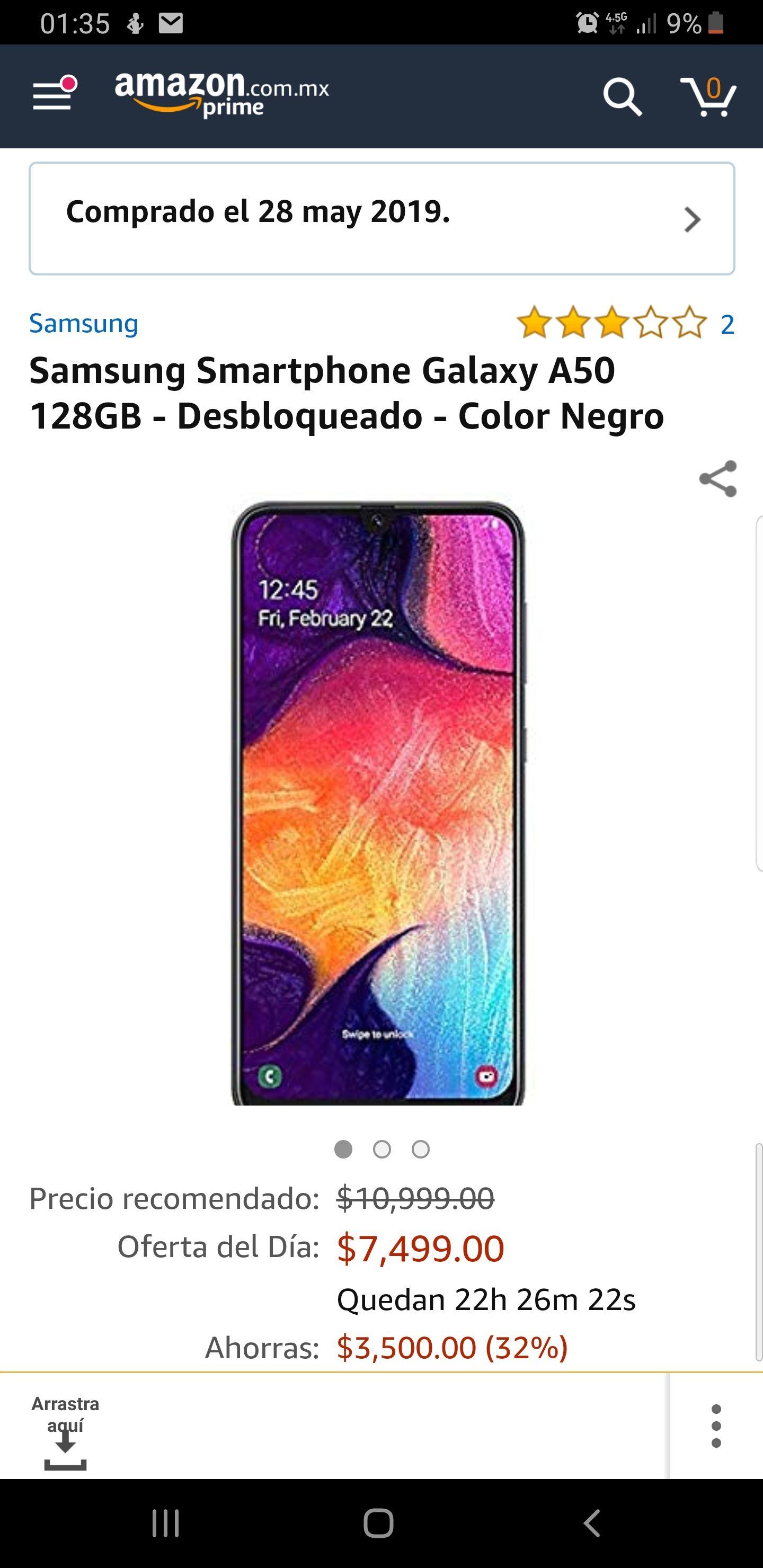 Amazon: Samsung Galaxy A50 128GB (pagando con tarjetas participantes)