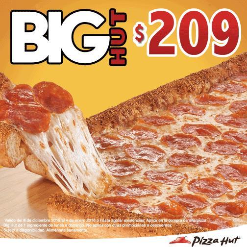 Pizza Hut: Big Hut de 1 ingrediente a $209