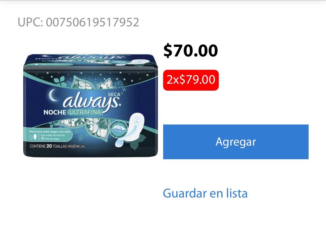 Walmart Súper Always toallas femeninas ultrafina pk 20 a 2x79