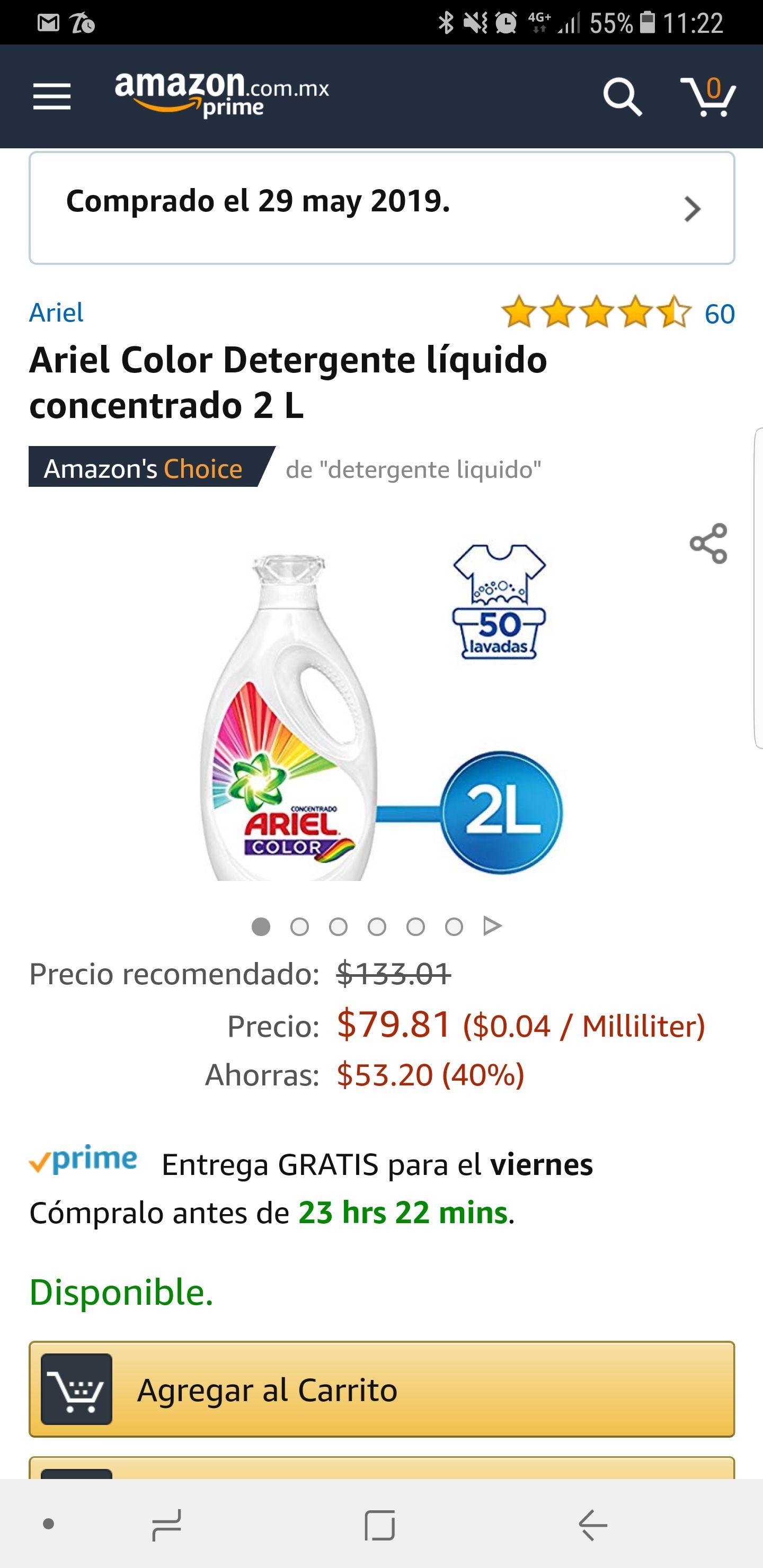 Amazon Concentrado 2 Litros Ariel Color Líquido