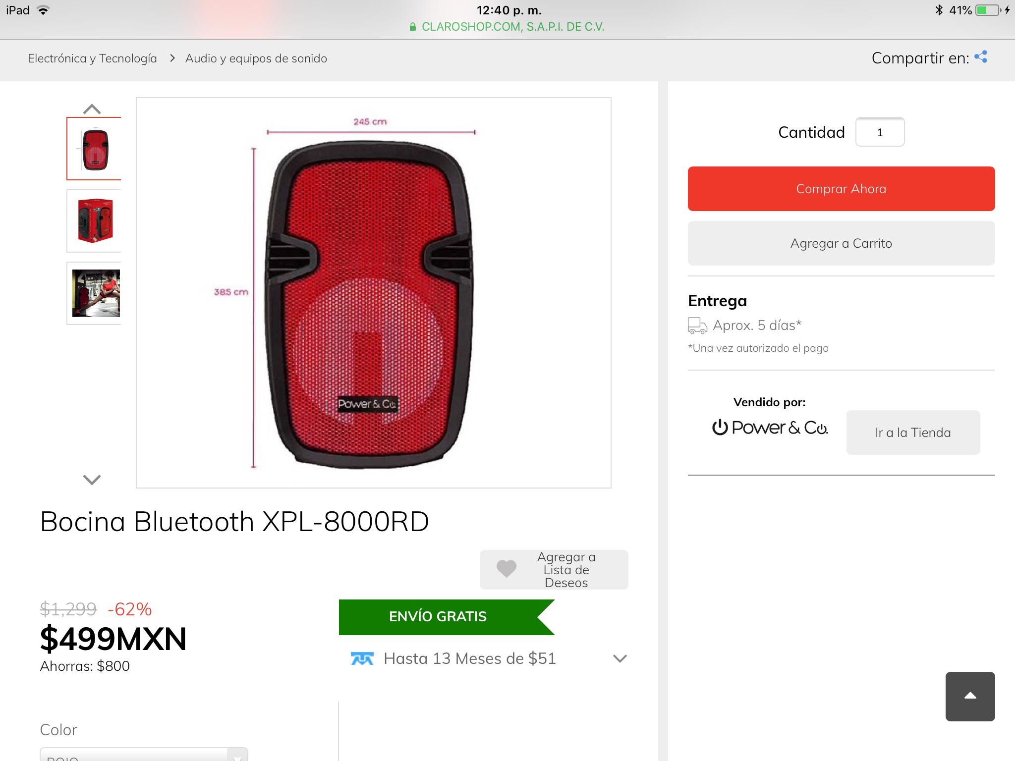 Claro Shop $499 por Bocina