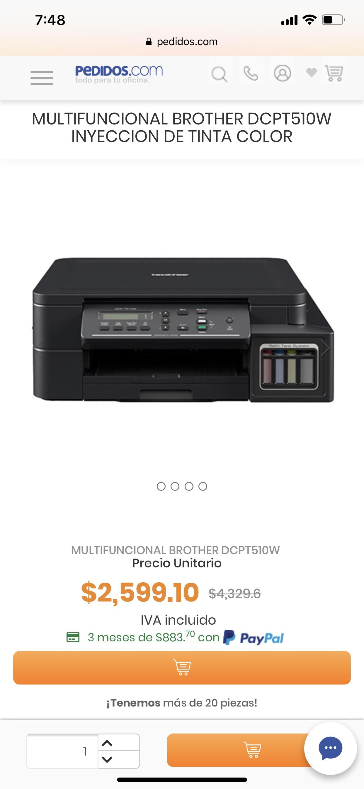 Pedidos.com: Multifuncional brother DCP-T510w sistema tinta continua wifi y AirPrint