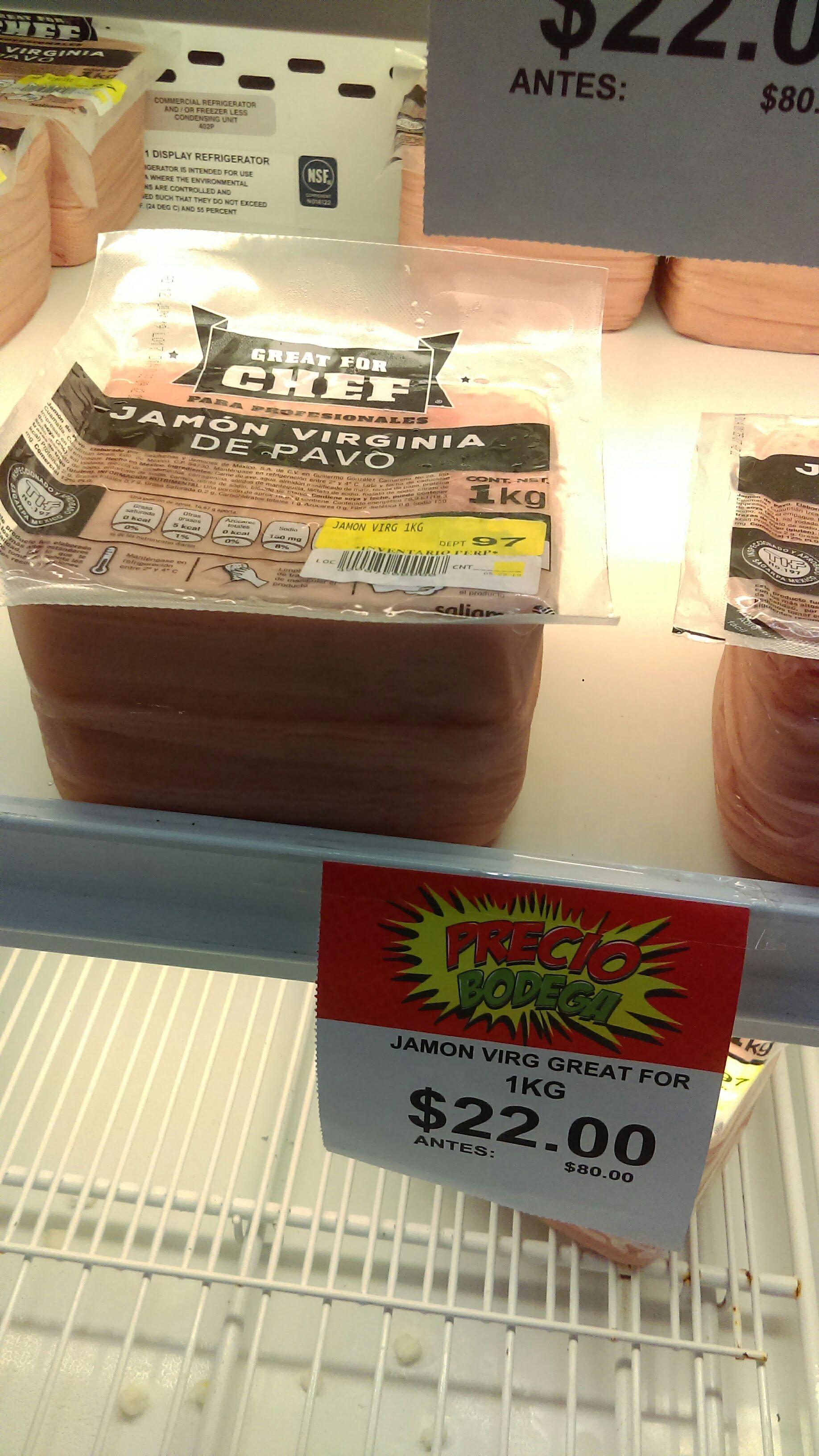 Bodega Aurrera: 1 kilo de jamón Virginia Great for Chef