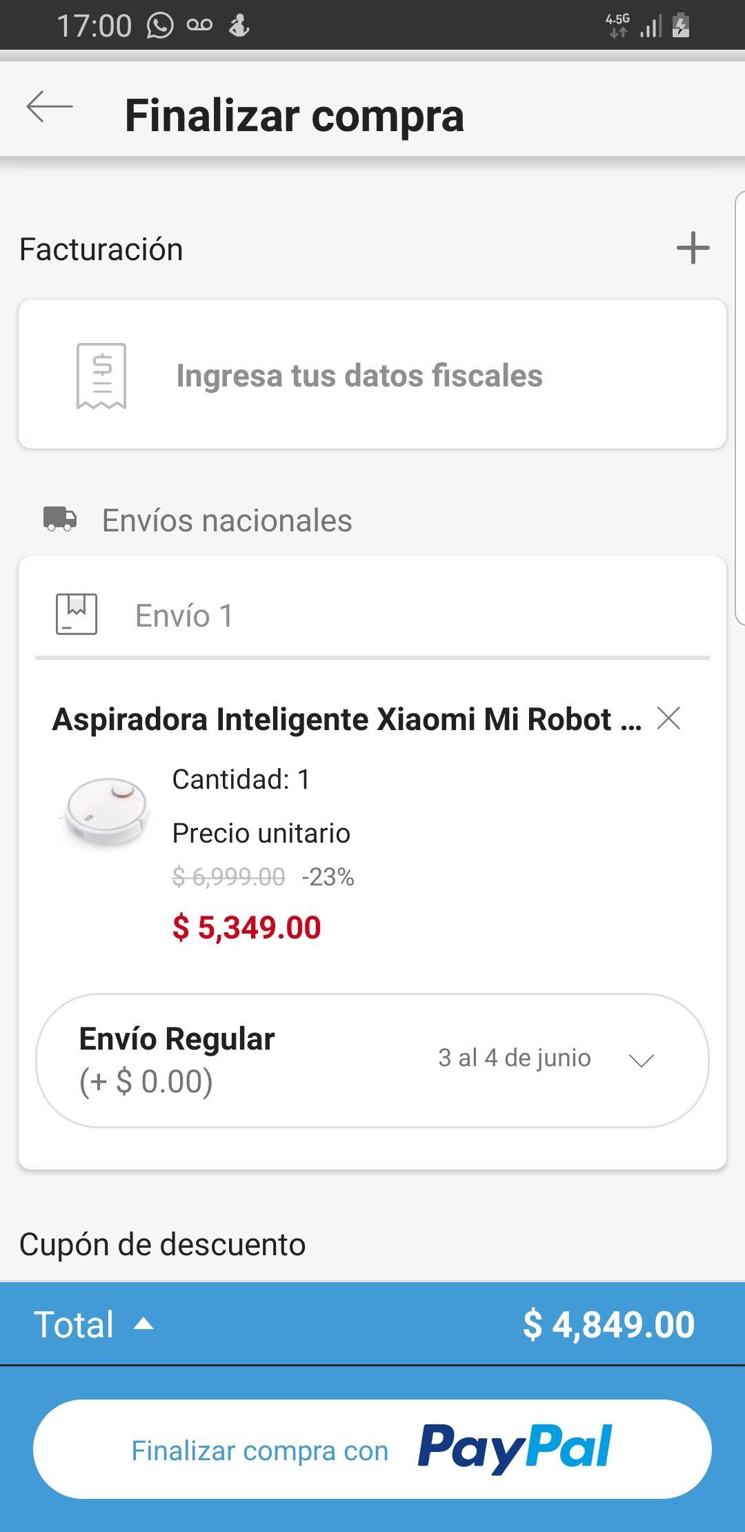 Linio: Aspiradora inteligente Xiaomi Mi robot Vacuum(Pagando con PayPal)