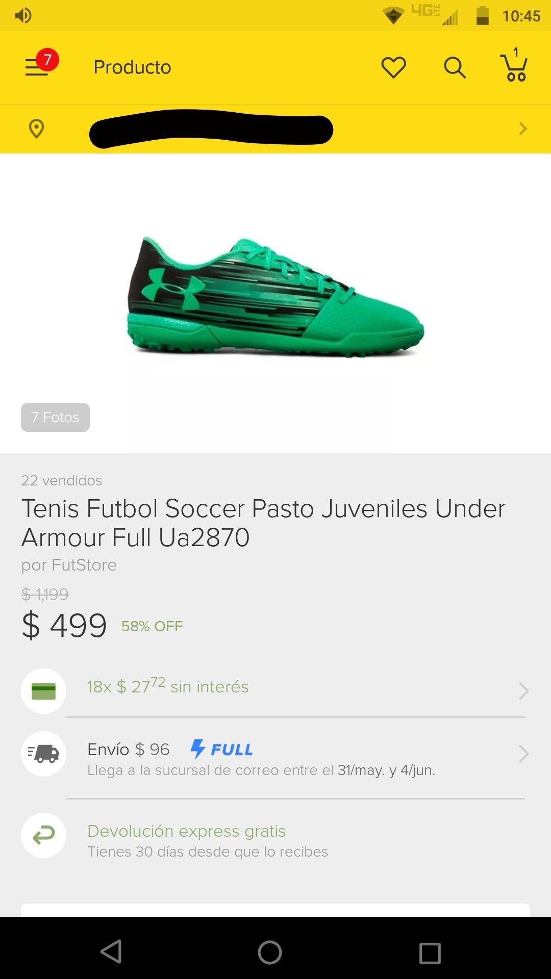Tienda oficial FutStore en Mercado Libre: Tenis de fútbol under armour
