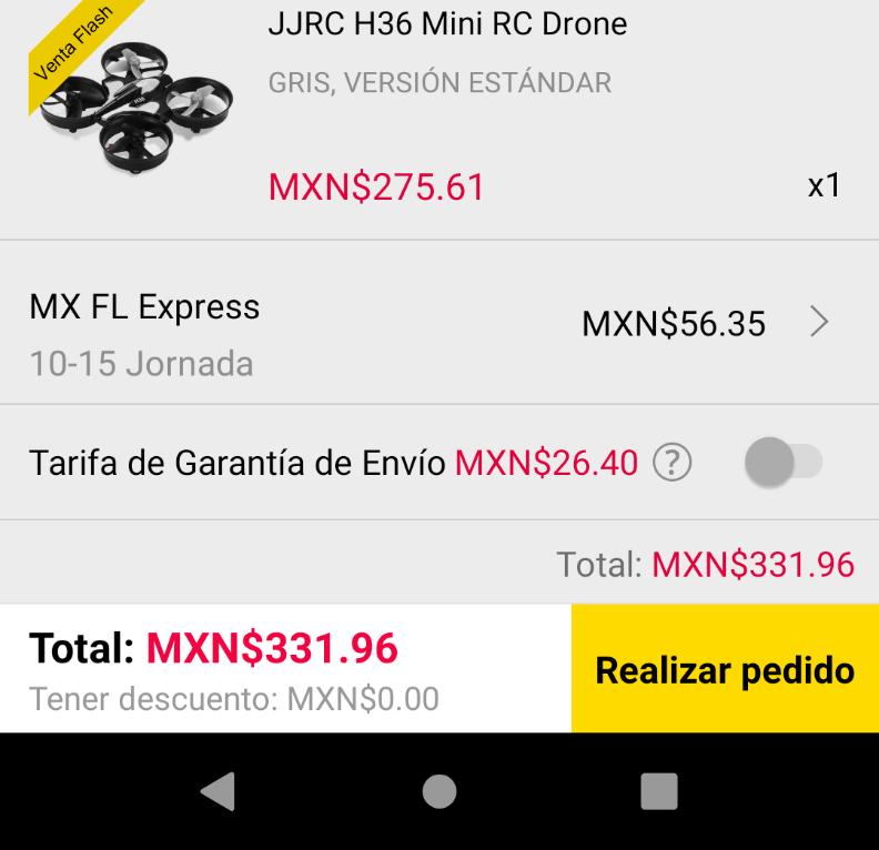 Gearbest: Mini Drone  H36 Envío Express por FedEx