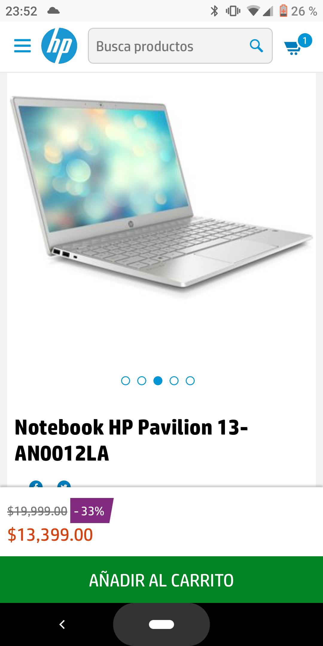 HP: Notebook HP Pavilion 13-AN0012LA (Pagando con Paypal)