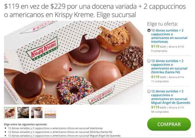Groupon Krispy Kreme: 12 donas surtidas + 2 cappuccinos $119 de Krispy Kreme (sólo 3 sucursales en DF)