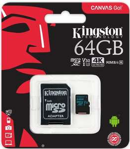 Amazon Mx: Kingston Canvas Go! 64GB microSDXC Clase 10 V30 UHS-I U3