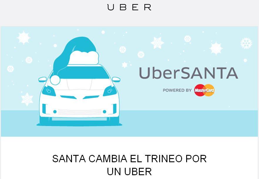 Uber: 1442 premios a los primeros que usen  UberSANTA el 18 de diciembre