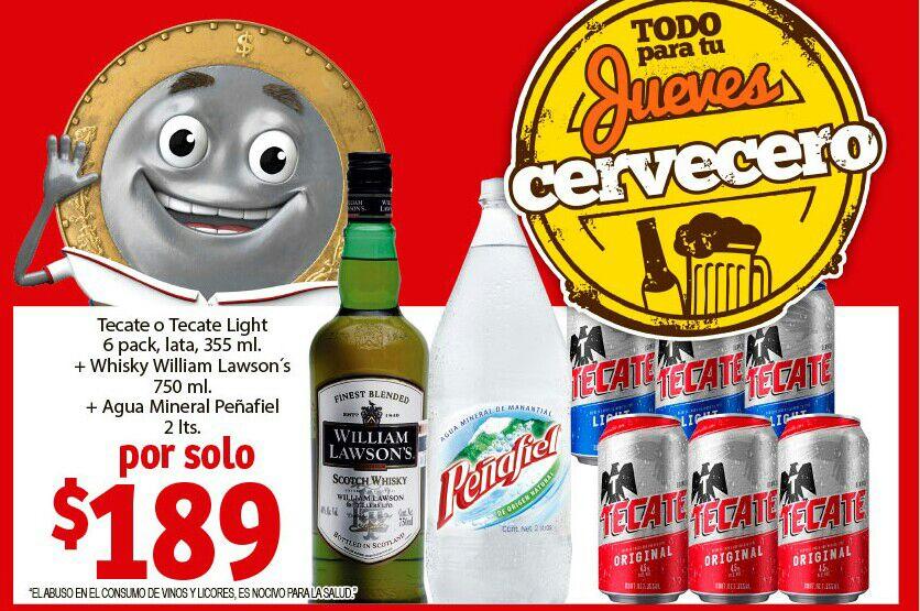 Soriana Mercado y Express: Jueves Cervecero 30 Mayo: Six Tecate lata + William Lawson's 750 ml + Peñafiel 2 L $189