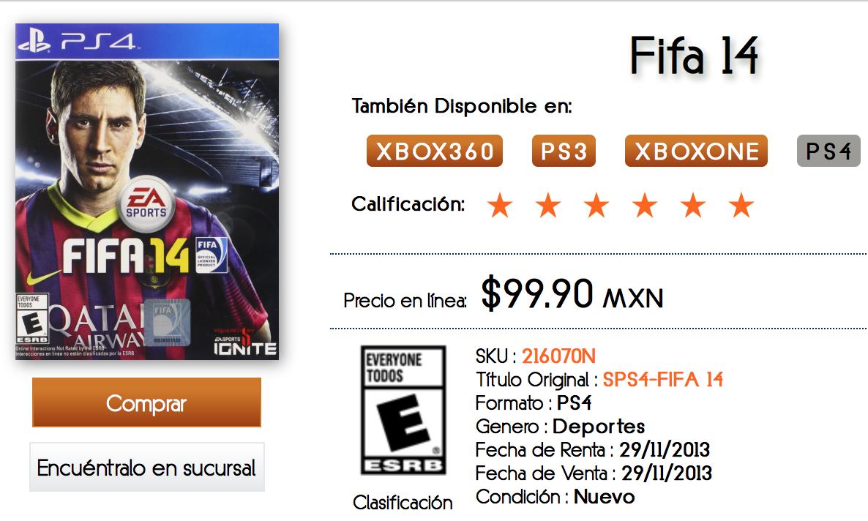 The B Store: FIFA 14 para PS4 $99