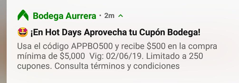 Bodega Aurrerá App y Walmart: Cupón 500 pesos en compra mínima de 5mil