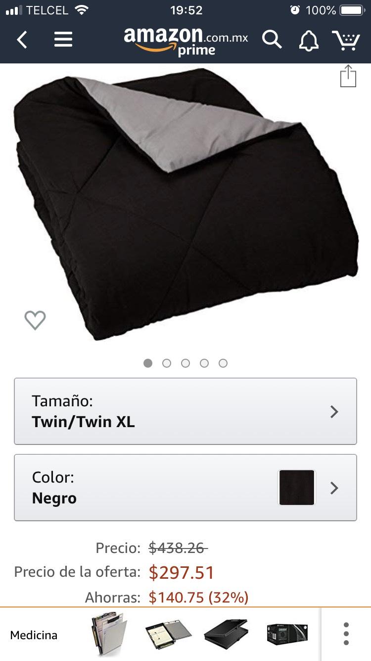 Amazon: Edredón negro, reversible, twin/twin XL