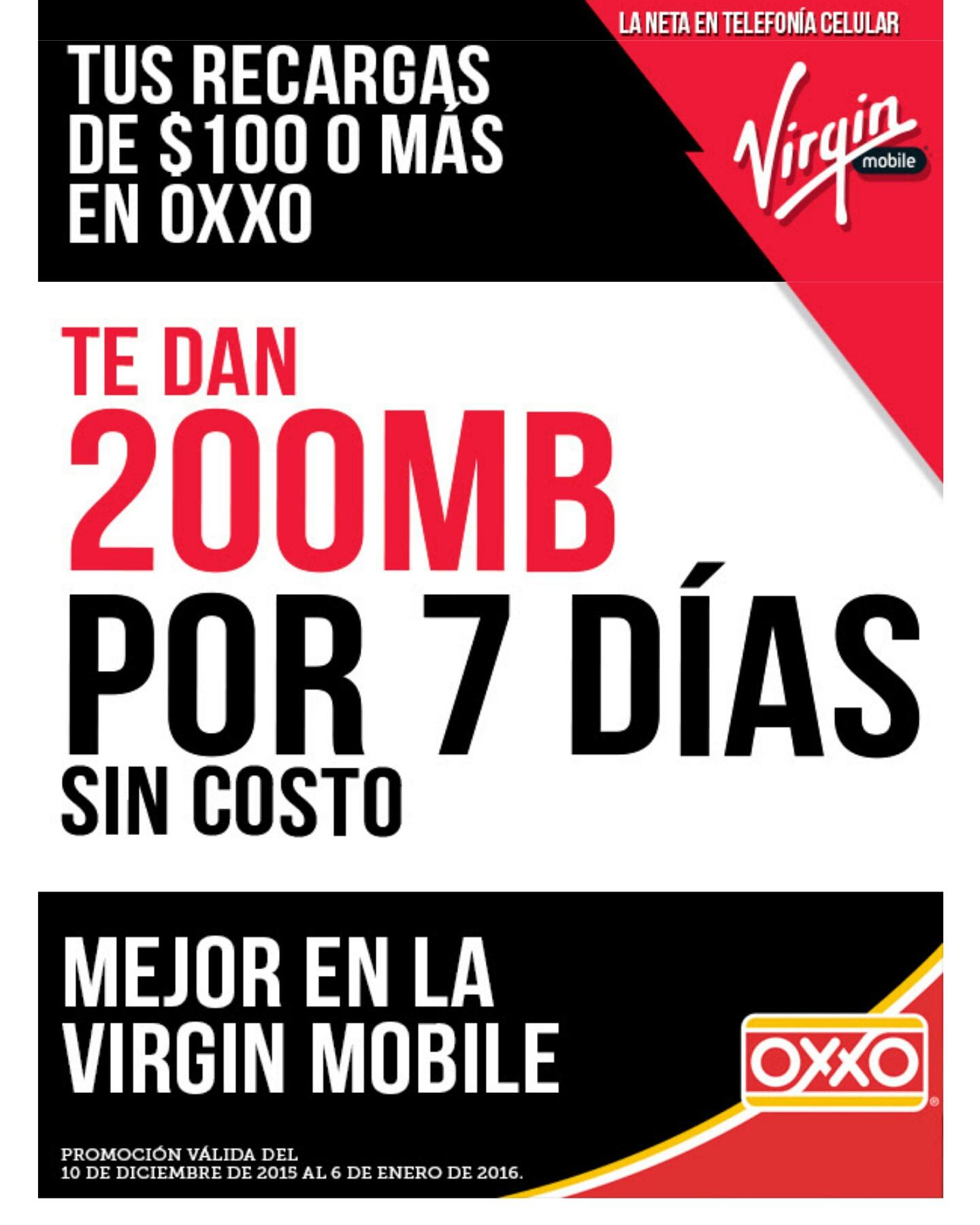 Virgin Mobile: Recarga $100 o mas en Oxxo y recibe 200 mb por 7 dias