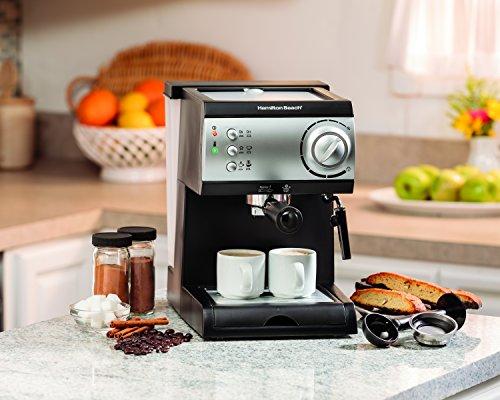 Amazon: Cafetera Espresso Dos Tazas Color Negro/Plata Cappuccino, Mocha, Latte 15 Bares