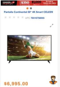 "Chedraui: Pantalla Continental 50"" 4K Smart CELED9"