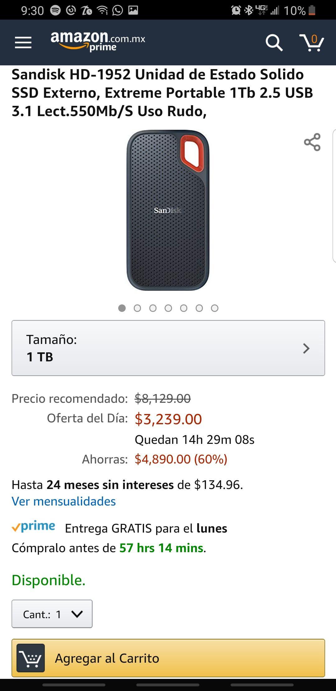 Amazon: Sandisk SSD externo 1TB